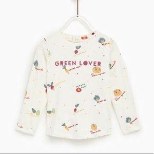Zara Adorable Girl GREENS LOVER shirt 18-24 months